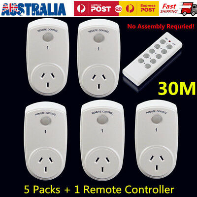 5 Packs Wireless Power Switch Sockets+1 Remote Controller Mains AU Plug
