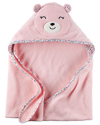 New Carter's Hooded Bath Towel Happy Bear Face Terry Material NWT Baby Pink