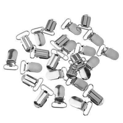 20x 20mm Metal Suspenders Soothers Holder Clips Pacifier Chain Clips