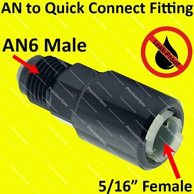 """AN6 Male to 5/16"""" Female Push On Quick Connect Fitting Adapter - Black"""
