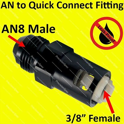 "3/8"" Female to AN8 8AN Push On Quick Connect Fuel Fitting Adapter Black Warranty"