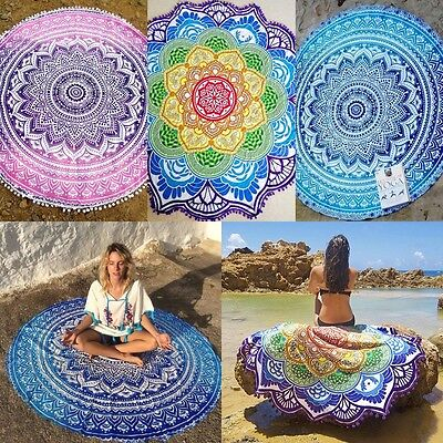 New Boho Beach Towel Outdoor Yoga Mat Hippie Round Mandala Tapestry Wall Hanging