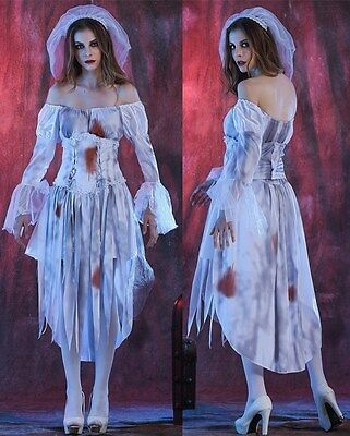 2016 Mew Adult Womens Ghost Zombie Bride Fancy Dress Up Halloween Costume Outfit