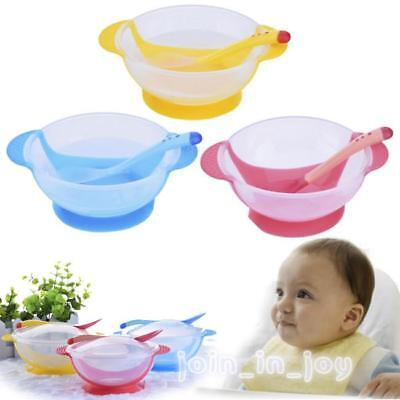 Baby Kids Dishes Feeding Temperature Sensing Suction Cup Bowl Tableware Set JJ