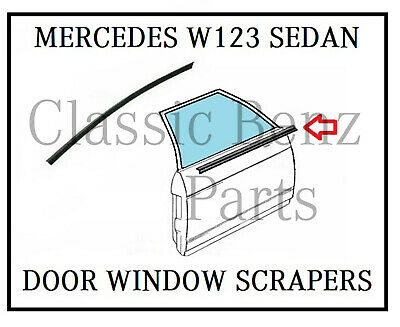 Mercedes Benz W123 Window Seals - Outer Door Glass Rubber Scraper Brush 2x