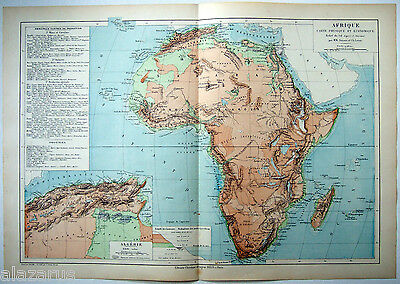 Original French Physical & Economic Map of Africa by Drioux & Leroy, Paris 1884