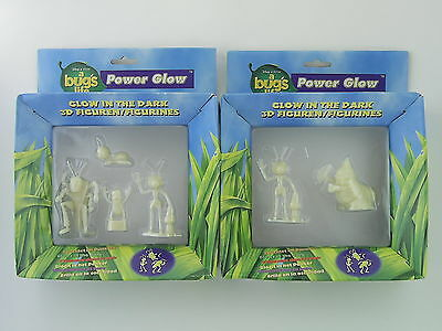 2x Packs of Disney Pixar A Bug's Life Glow in the Dark Action Figure Sets - New