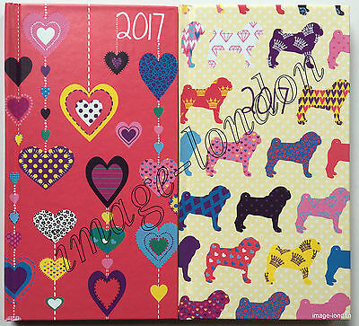 2017 Diary Slim Size Week to view Dogs or Heart design Hardback diary