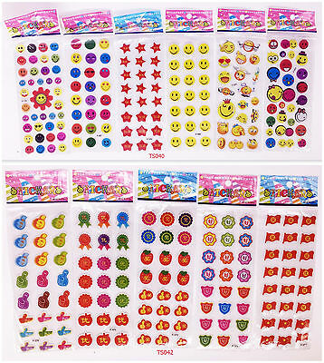 11 SHEETS 3D teacher school smile Stereoscopic reward Stickers lot- Kids gift