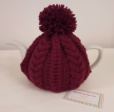 Hand Knitted Aran Tea Cosy - Burgundy
