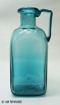 VERRE GALLO-ROMAIN - BOUTEILLE CARREE A UNE ANSE (Bleu turquoise) - REPRODUCTION