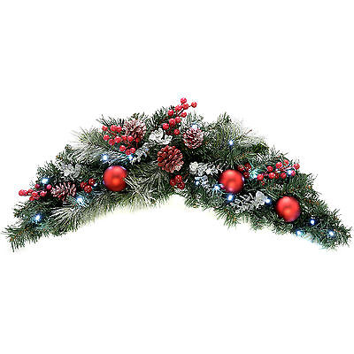 Frosted Decorated Pre-Lit Arch Garland Christmas Decoration LED Lights - 90cm