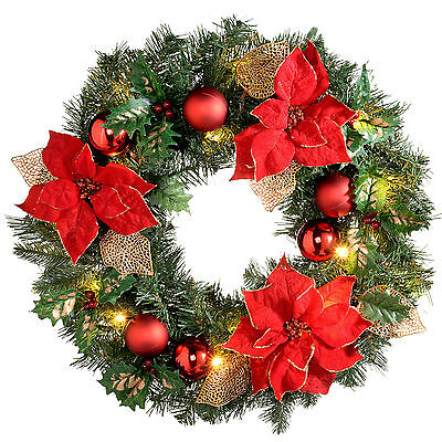 Decorated Pre-Lit Wreath Christmas Decoration Warm LED Lights 60cm Red & Gold