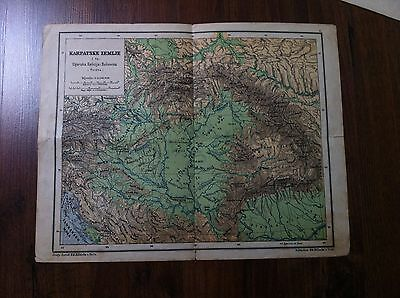 Antique Map of Hungary, Galicia and Bukovina , Karta Ugarska, Galicija, Bukovina