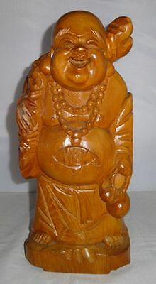 Rare Japanese Vintage Wooden Hand Carved Hotei Buddha Seven Lucky Gods Statue