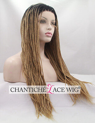 Women's Front Lace Wigs Ombre Brown Synthetic Hair Long Braided Heat Friendly UK