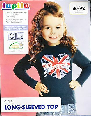 Little Girls Blue Long Sleeve Top With Loveheart Print Age 12-24 Months Bnwt