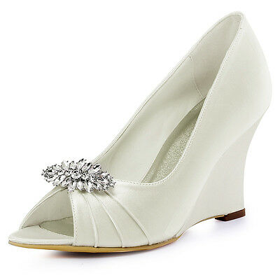 Ivory Wedding Bridal Shoes Removable Clips Peep Toe High Heels Satin Prom Wedges