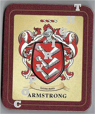 ARMSTRONG Heraldic Family Coat of Arms Crest COASTERS - Set of 2