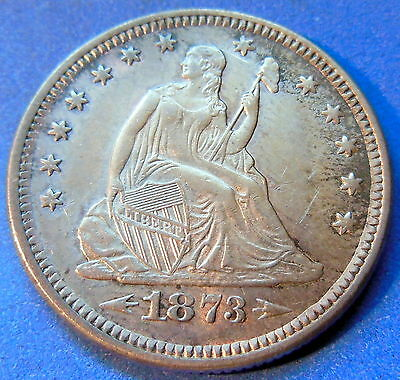 1873 With Arrows Seated Liberty Quarter About Uncirculated to MS US Coin #4892