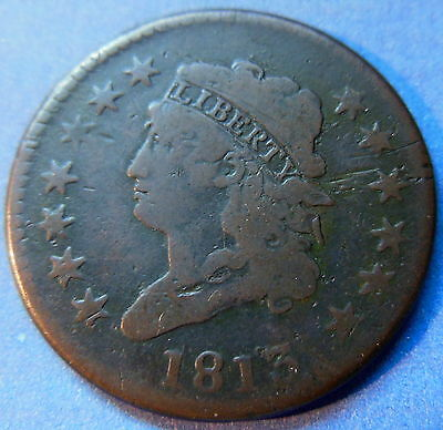 1813 Classic Head Large Cent Fine US Early Copper Type Coin #5937