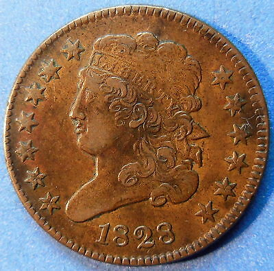 1828 Classic Head Half Cent 13 Stars About Uncirculated to MS Original #4521