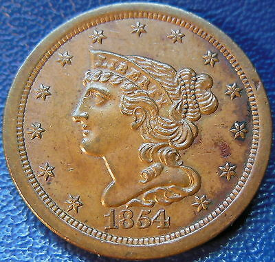 1854 Braided Hair Half Cent About Uncirculated to Mint State US Coin #10508