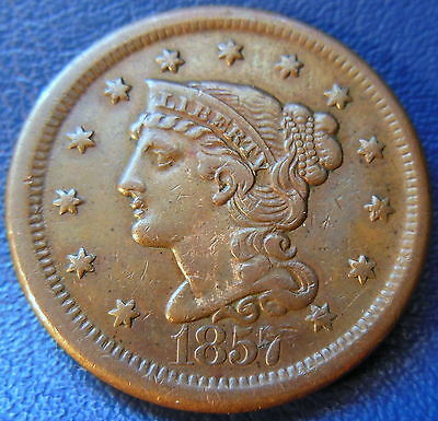 1857 Braided Hair Large Cent Extra Fine to About Uncirculated Key Date #8361