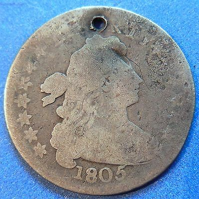 1805 Draped Bust Dime G Good 'Holy' with Hole #3583