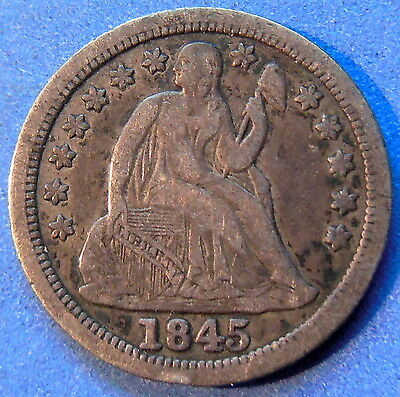 1845 Seated Liberty Dime Extra Fine XF Toned US 10c Coin #4732