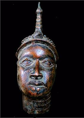 Old Tribal Ife Bronze Head Of King       -- South West, Nigeria