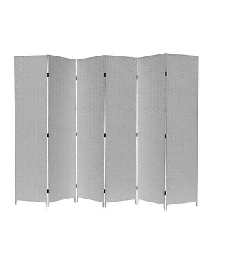 Room Divider Screen Wicker  Partition White 6 Panel**