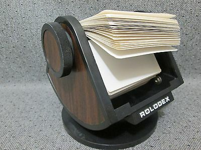 Vintage Rolodex SW-24 Wood Grain Rotating Round Swivel File Index Cards