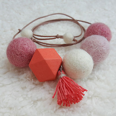 Handmade Feltball Necklace Coral color / Pompom Tassel Necklace by RIBBONNKIDS