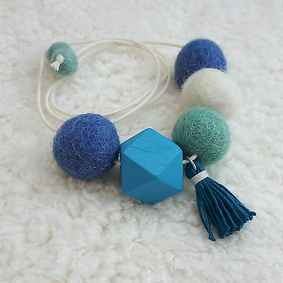 Handmade Feltball Necklace Blue color / Pompom Tassel Necklace by RIBBONNKIDS
