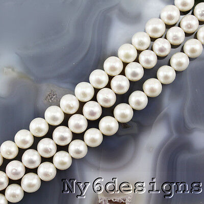 """6x6mm Creamy Freshwater Round Pearl Beads 15"""" (PE188)a"""