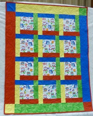 """Quilt, Primary Colors, Cute Owls, 37"""" x 48"""", Boy or Girl Quilt, Great Gift"""
