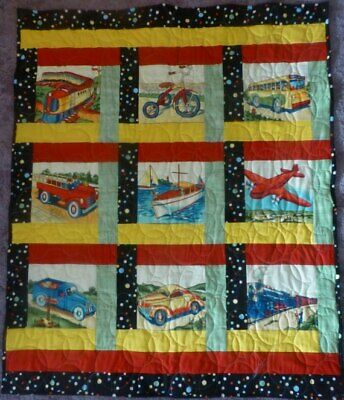 """Baby Quilt, ,Transportation,Crib, Floor Quilt, , 40"""" x 49""""  Shower or Baby Gift"""
