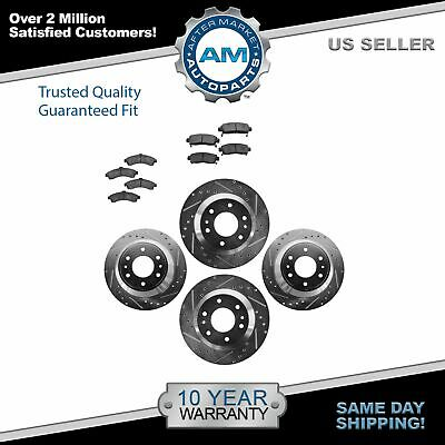 POWER PERFORMANCE DRILLED SLOTTED PLATED BRAKE DISC ROTORS 46166PS FRONT+REAR