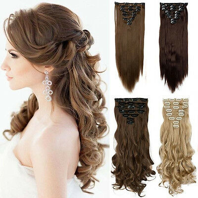 UK NEW Full Head 8pcs Clip in on Hair Extensions Real thick human synthetic hg15
