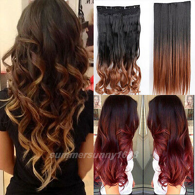 """23/25"""" Maga Thick 3/4 Full Head Clip in on Ombre Hair Extensions for human hg99"""