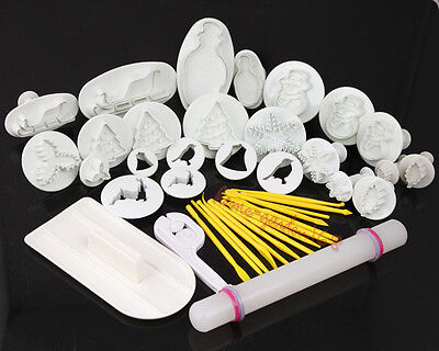 Fondant Cake Cutters XMAS Mold Sugarcraft Decorating Tools Smoother/Rolling Pin
