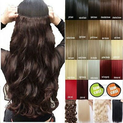 "17/23"" Long 100% Natural 3/4 Full Head Clip In on Hair Extension Extensions gd17"