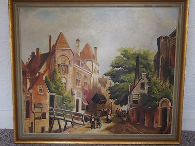 A Vintage Painting Village/Town Early 20th Century Street Scene Oil on Canvas