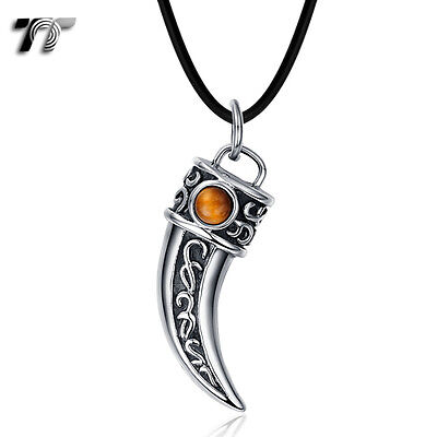TT 316 Stainless Steel Spear Pendant Necklace With Tiger Eye (NP304Y) NEW
