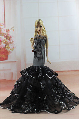 Black Royalty Mermaid Dress Party Dress/Wedding Clothes/Gown For 11.5in.Doll H01
