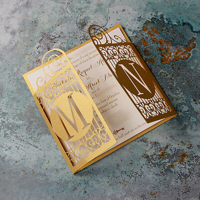 Golden Gate Art Deco Laser Cut Wedding Invitation - SAMPLE