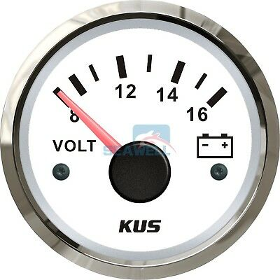 KUS Marine Voltmeter Boat Battery Gauge Electrical Car Truck Range 8-16V