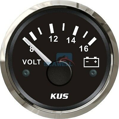 KUS Marine Voltmeter Gauge WEMA Boat Battery Voltage Meter Steel Bezel 8-16V
