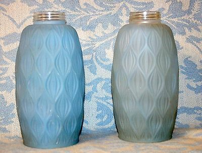Pair of VINTAGE Quilted, Cased Blue Frosted Glass Pendant Light Fixtures Globes